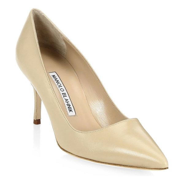 "Manolo Blahnik bb 70 leather point toe pumps in nude - Leather pumps in point toe style Heel height, 2.75""..."