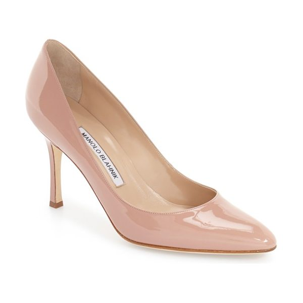 Manolo Blahnik lisa patent pump in nude patent - Clean lines and glossy patent leather distinguish a...