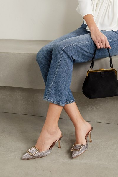 Manolo Blahnik maysale buckled metallic leather-trimmed woven mules in gold