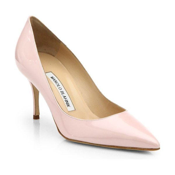 Manolo Blahnik Nausikaba scooped patent leather pumps in blush - The refined tailoring of this single-sole pump in...