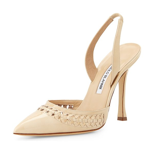Manolo Blahnik Nave woven patent leather pump in bone patent -  Manolo Blahnik patent leather pump with woven trim. 4....