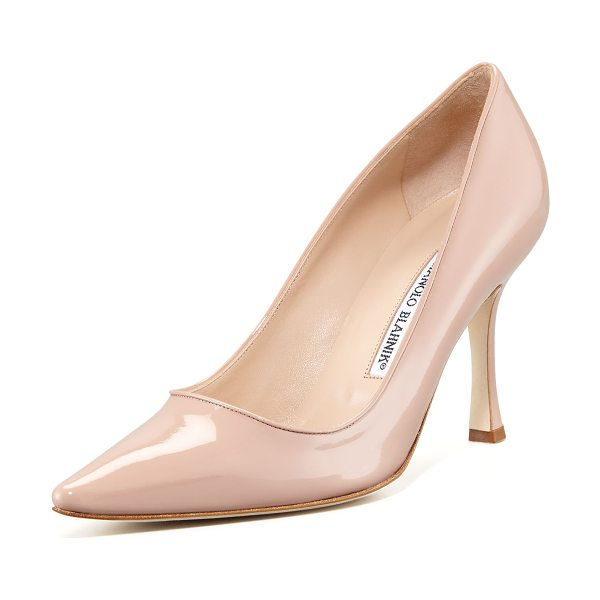 "Manolo Blahnik Newcio Patent Pump in flesh - High-gloss patent leather. Pointed toe. 3 1/2"" covered..."