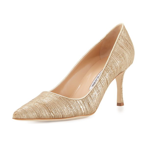 "MANOLO BLAHNIK Newcio Pointed-Toe 70mm Pump in natural - Manolo Blahnik metallic fabric pump. 2.8"" covered heel...."