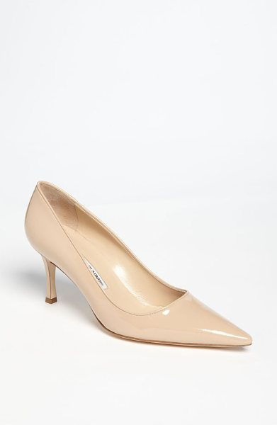 Manolo Blahnik newcio pump in nude - A slender wrapped heel supports a classic pointy-toe...