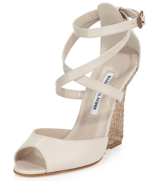 "Manolo Blahnik Nove Raffia-Wedge Sandal in taupe - Manolo Blahnik sandal with leather upper. 4.3"" raffia..."