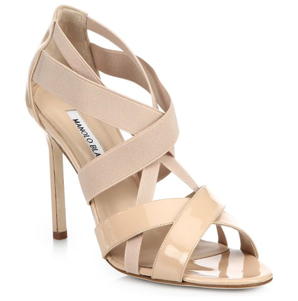 Manolo Blahnik Patent & elastic strappy sandals in nude - Glossy patent and comfortable straps of stretch elastic...