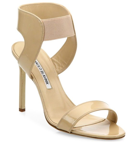 Manolo Blahnik pepe patent leather sandals in newnude - EXCLUSIVELY AT SAKS FIFTH AVENUE. Versatile patent...