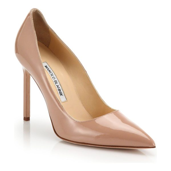Manolo Blahnik Bb point-toe patent leather pumps in nude - No shoes are more classic or essential than these...