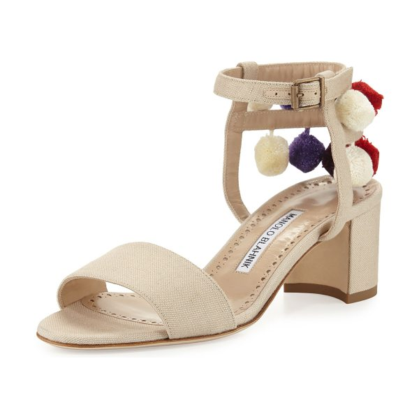 "Manolo Blahnik Pompom Canvas 50mm Sandal in natural - Manolo Blahnik canvas sandal with multicolor pompoms. 2""..."