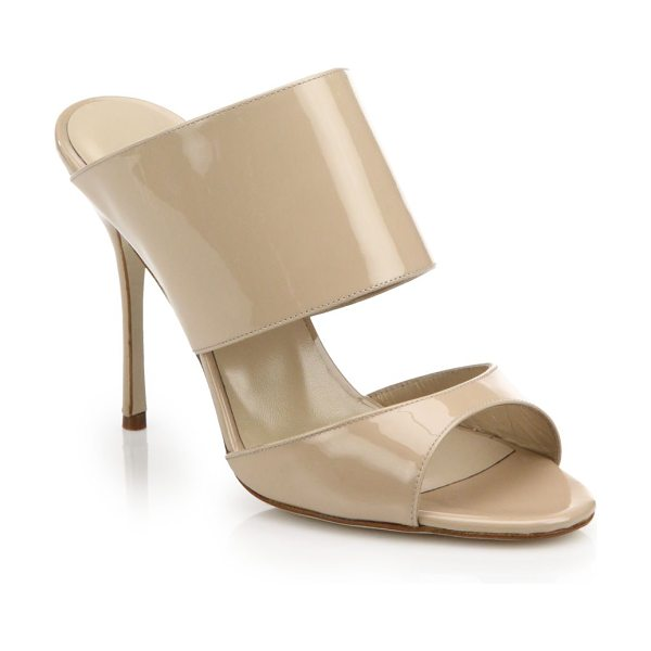 Manolo Blahnik Ripta patent leather mule sandals in nude - EXCLUSIVELY AT SAKS. Manolo Blahnik takes a modern-luxe...