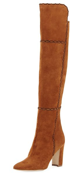 Manolo Blahnik Rubiohi Stitched Suede Knee Boot in brown - Manolo Blahnik over-the-knee boot with contrast...