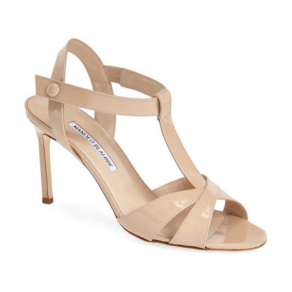 Manolo Blahnik schetti ankle strap pump in nude - A sleek T-strap adds plenty of modern glamour to a...