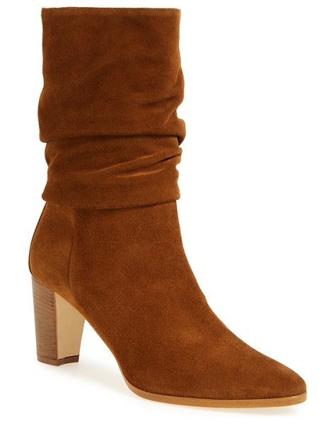 Manolo Blahnik slouch boot in brown suede - Gentle folds of velvety suede softly encircle the ankle,...
