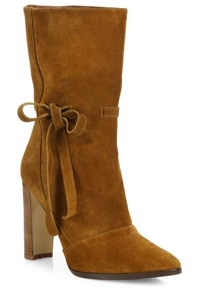 Manolo Blahnik suede bow block heel boots in cacao - Suede mid-calf boot with side bow on half-moon heel....