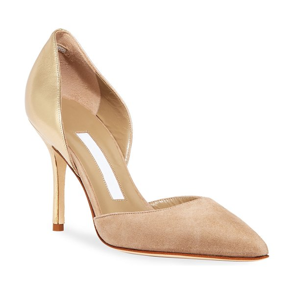 Manolo Blahnik Tayler Leather and Suede Pumps in nude suede