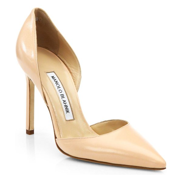 Manolo Blahnik tayler leather d'orsay pumps in nude - Low-cut silhouette rendered in Italian leather, with a...