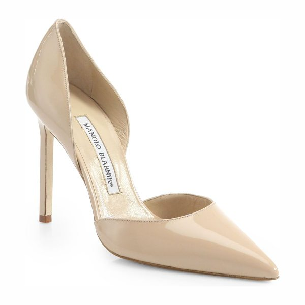 Manolo Blahnik tayler 105 patent leather d'orsay pumps in nude - Sophisticated point-toe silhouette crafted in Italy of...