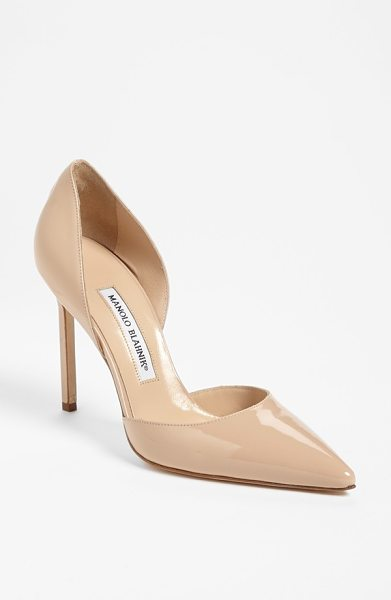 Manolo Blahnik tayler dorsay pump in nude - Glossy patent leather perfects a pointy-toe d'Orsay pump...