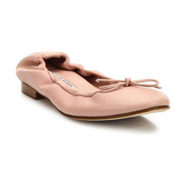 Manolo Blahnik tobaly leather ballet flats in blush - EXCLUSIVELY AT SAKS FIFTH AVENUE. Classic leather ballet...