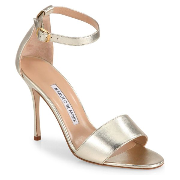 Manolo Blahnik tressa 105 metallic leather ankle-strap sandals in gold - Streamlined ankle-strap sandal in metallic leather....