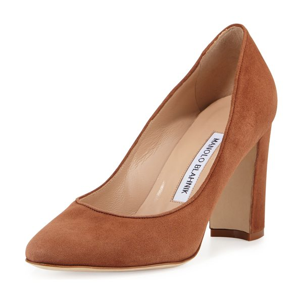 "Manolo Blahnik Tuccio Suede 90mm Pump in brown - Manolo Blahnik suede pump. 3.5"" covered block heel...."