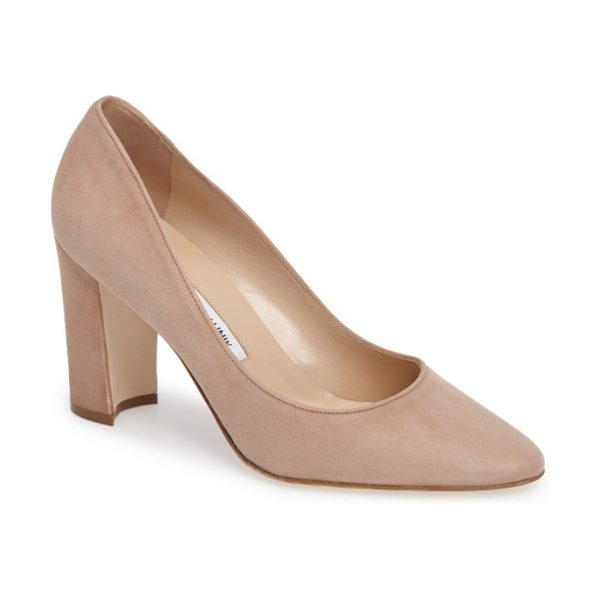 MANOLO BLAHNIK tucciototo block heel pump - A wardrobe-staple pump crafted in rich suede is designed...