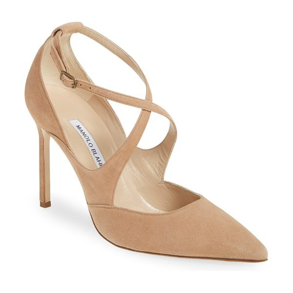 Manolo Blahnik 'tugia' pointy toe pump in beige suede - Svelte curved straps cross the vamp of a rich suede pump...