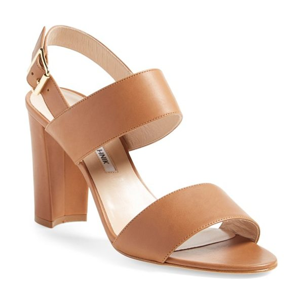Manolo Blahnik 'khan' two strap sandal in brown leather - A two-strap sandal crafted in Italy from smooth leather...