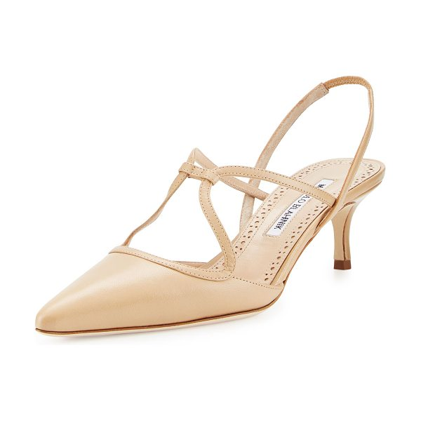 Manolo Blahnik Umbusus Looped Slingback Pump in tan/camel - ONLYATNM Only Here. Only Ours. Exclusively for You....