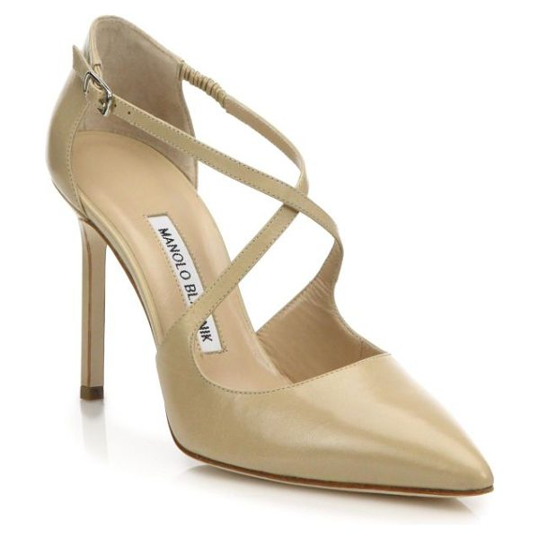 Manolo Blahnik umice leather crisscross pumps in beige - Leather d'Orsay pump with alluring crisscross straps....