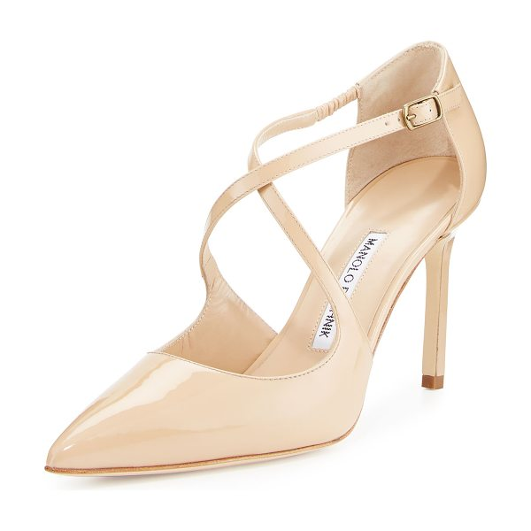 "Manolo Blahnik Umice Patent Crisscross Pump in nude patent - Manolo Blahnik patent leather d'Orsay pump. 3.5"" covered..."