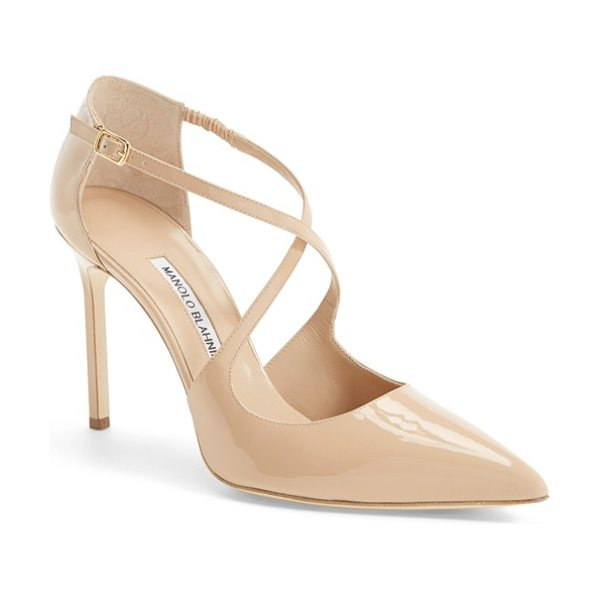 Manolo Blahnik umice pointy toe pump in nude - In wear-with-anything neutral hues, this curvy...