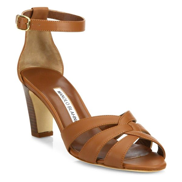 Manolo Blahnik unista leather ankle-strap sandals in luggage - Leather ankle-strap sandal with caged toe band. Stacked...