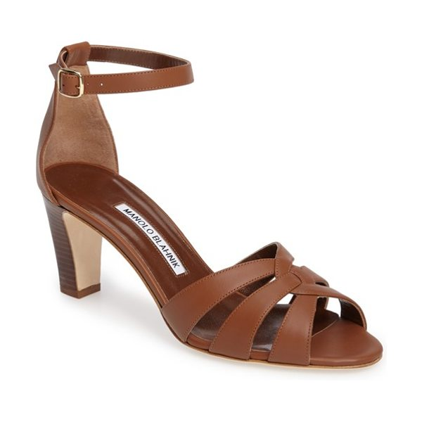 Manolo Blahnik unista sandal in brown leather - Vintage sophistication defines a block-heel sandal...