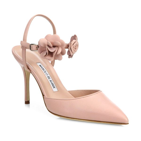 Manolo Blahnik volvonapla flower leather ankle-strap pumps in pink - EXCLUSIVELY AT SAKS FIFTH AVENUE. Leather point-toe pump...