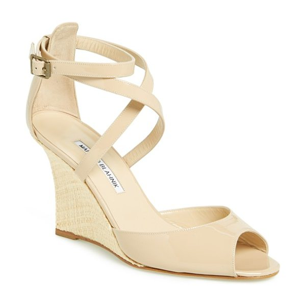 Manolo Blahnik nove wedge sandal in nude - Crisscrossed patent-leather straps shine atop a striking...