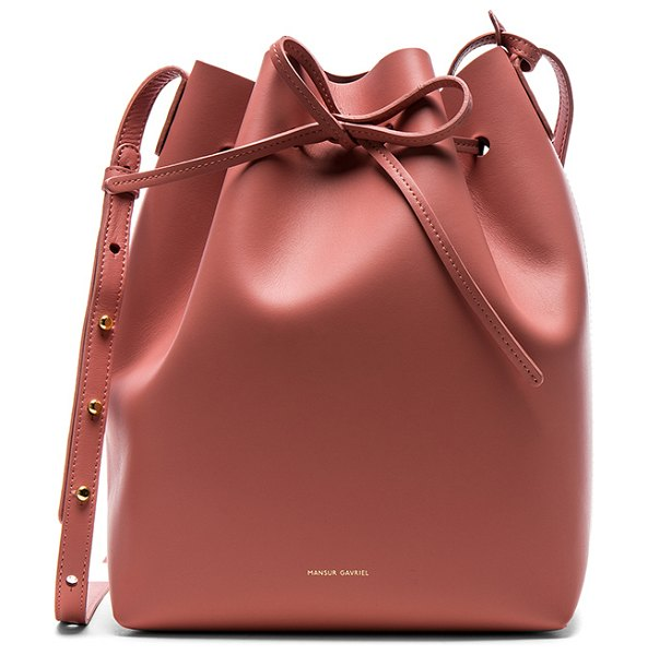 "MANSUR GAVRIEL Bucket Bag in pink - ""Calfskin leather with raw lining and gold-tone..."