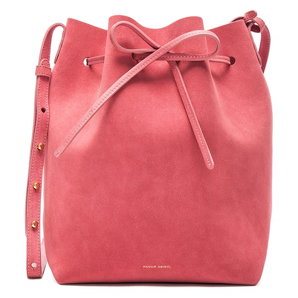 Mansur Gavriel Bucket Bag in pink - Italian suede with leather lining and gold-tone...