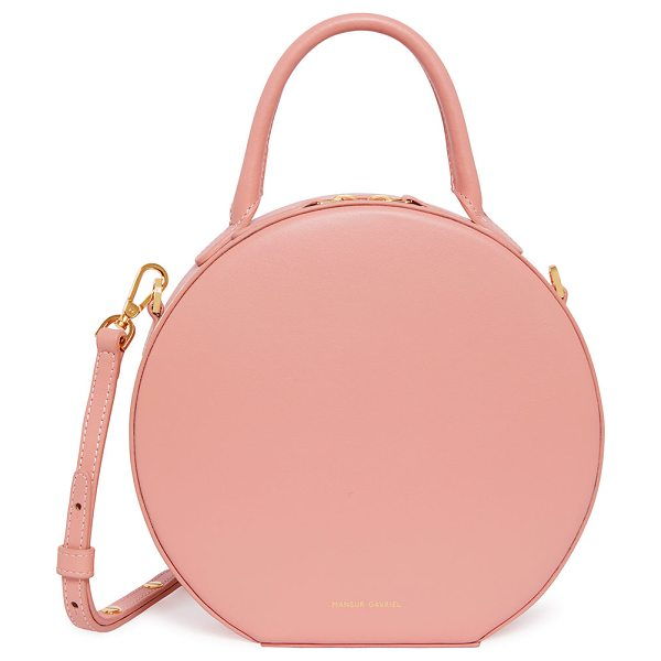 MANSUR GAVRIEL Leather Circle Crossbody Bag in pink - Mansur Gavriel smooth leather circle crossbody bag....