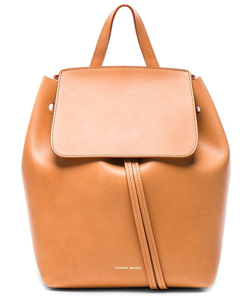 "Mansur Gavriel Mini Backpack in brown - ""Vegetable tanned leather with pink matte leather lining..."