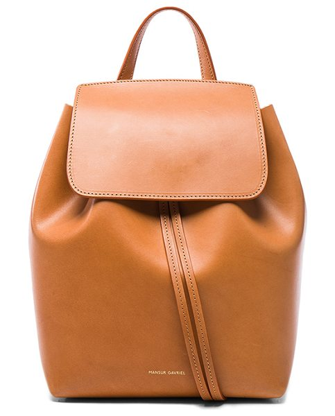 "Mansur Gavriel Mini Backpack in neutrals - ""Calfskin leather with light pink matte patent leather..."