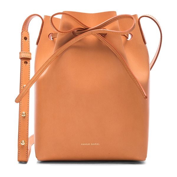 MANSUR GAVRIEL Mini Bucket Bag - Vegetable tanned leather with pink matte patent leather...