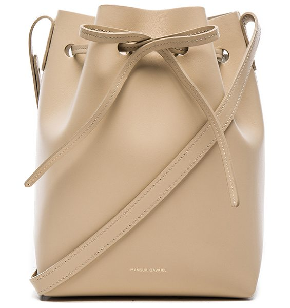 Mansur Gavriel Mini bucket bag in neutrals - Calfskin leather with matte patent leather lining and...
