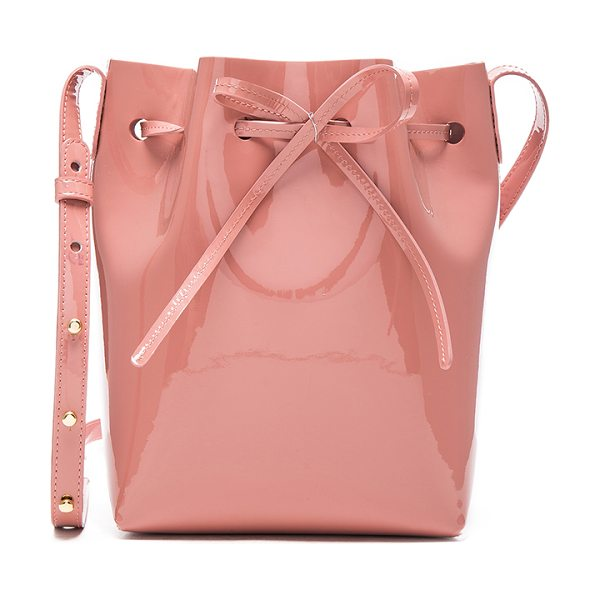 """Mansur Gavriel Mini Bucket in pink - """"Italian patent leather with raw lining and gold-tone..."""
