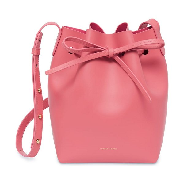 Mansur Gavriel mini leather bucket bag in pink