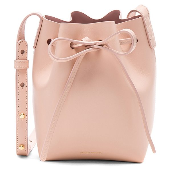 "Mansur Gavriel Mini Mini Bucket Bag in pink - ""Vegetable tanned leather with matte patent leather..."