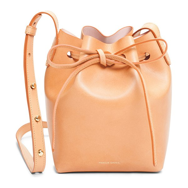 "Mansur Gavriel Mini Mini Bucket Bag in brown - ""Calfskin leather with light pink matte patent leather..."