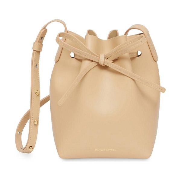 Mansur Gavriel mini mini leather bucket bag in natural - Mansur Gavriel's bucket bag earned the label a fervent...