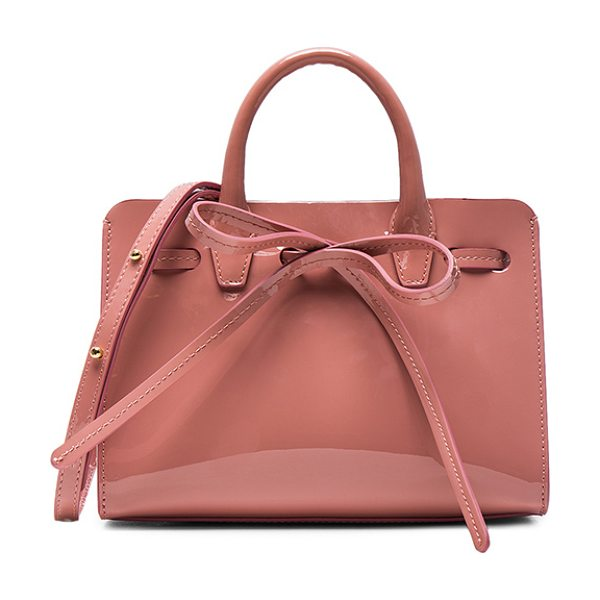 "Mansur Gavriel Mini Mini Sun Bag in pink - ""Patent leather with tonal matte patent leather lining..."
