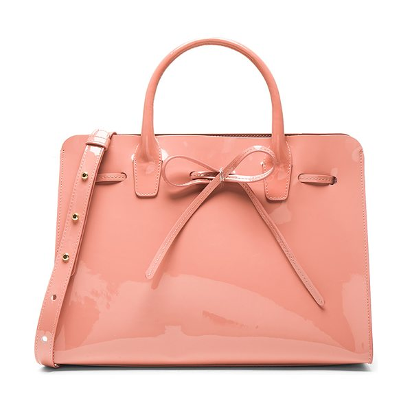 Mansur Gavriel Sun Bag in pink - Italian patent leather with matte patent leather lining...